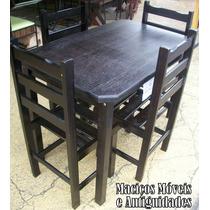 Jogo De Mesa C/4 Cadeiras Madeira Eucalipto Imbuia,carvalho