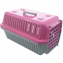 Caixa / Casinha Para Transportar Cachorro Ou Gato Rosa