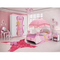 Cama 100% Mdf Barbie Star Juvenil Pura Magia Dossel