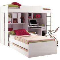 Modulo Office Teen Beliche + Cama Auxiliar Solteiro Treliche