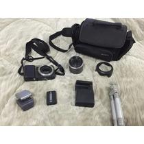 Camera Sony Nex3 Com Lente Sel1855 E Flash Hvl-f7s Mais Case