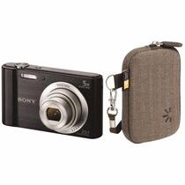 Câmera Digital Sony Dsc W-800 20.1mp 5x Prata + Capa Case