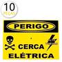 Kit 10 Placa Alumínio - Sorria - Cerca Eletrica - Alarme 24