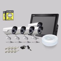 Kit Dvr Stand Alone Monitor 8 Canais Intelbras 5 Camera Sony
