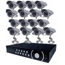 Kit Cftv Dvr H264 16 Canais / 16 Cameras Infra / 16 Fonte 1a