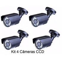 Kit 4 Cameras Ccd Infra Vermelho 24 Leds Prova D´agua