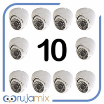 10 Cameras Dome Ccd Infra 48 Leds 1000 Linhas Frete Gratis