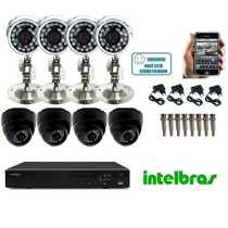 Kit Cftv 08 Cameras Infra Ccd Sony Dvr 08 Canais Intelbras