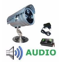 Câmera Ccd Cftv Infravermelho 48leds 1200linhas +audio+fonte