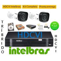 Kit Intelbras 2 Cam Hdcvi + Dvr 4ch Hdvci Tribrido + Hd 500g