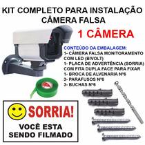 Kit Completo Instalação Camera Falsa Bivolt Com Led Fake