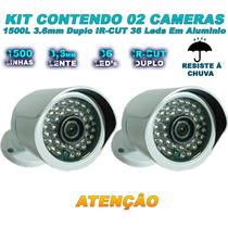 Kit 02 Câmera Infravermelho 1500 Linhas Filtro Ir Cut 50 Mts