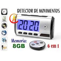 Relógio Espião 8gb Detector De Movimentos 12 Horas Gravação