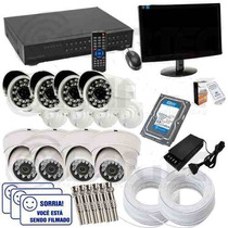 Kit Monitoramento Cftv 8 Cam Infra + Hd 2tb + Monitor 200mts