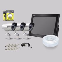 Kit Dvr Stand Alone Monitor 4 Canais Intelbras 3 Camera Sony