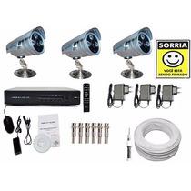 Kit Cftv 3 Cam Led Array 1500 Linhas/ Dvr 4 Cameras / Cabo