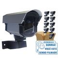 Kit 10 Câmeras De Segurança Falsa Com Led Bivolt + 10 Placas