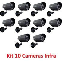 Kit 10 Câmeras Segurança Vídeo Ccd Digital Infra 36 Led Colr