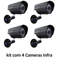 Kit 4 Câmeras Segurança Vídeo Ccd Digital Infra 36 Led Color