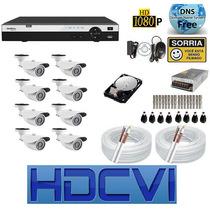 Kit 8 Cameras Hdcvi 720p Infra Dvr 8 Canais Intelbras Hdcvi