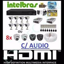 Kit Cftv 8 Cameras Infra Ccd 1/3 Sony Dvr 8 Canais Intelbras