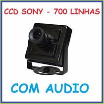Micro Camera Cftv Ccd Sony 700 Linhas C/ Audio Day Night 320