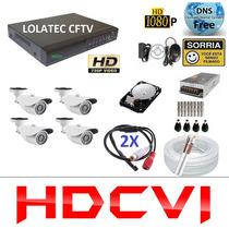 Kit 4 Cameras Hdcvi 720p Infra Dvr 4 Canais Plat. Intelbras