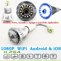 Mini Camera Ip Espia Wifi Lampada Com 32gb Sd