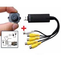 2 Kit Micro Câmera Sem Fio Kit C/ Placa De Captura Usb 4 Ent