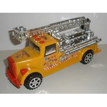 Caminhão Bombeiro Antigo Vintage Brinquedo Fricção 21 Cm