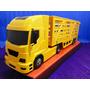 Caminhão Boiadeiro Amarelo Comp=60cm Larg=12cm Altura=18cm