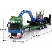 Caminhão Prancha Escavadeira 1/50 Kdw Kaidiwei Volvo Scania