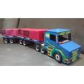 Caminhão De Brinquedo De Madeira Carreta Bi-trem (90cm)