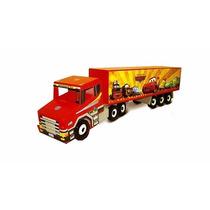 Caminhão Scania Carreta Em Madeira (90cm) Brinquedo