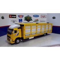 Caminhão Volvo 1/50 C/ Carroceria Boiadeiro 1/43 (28 Cm)