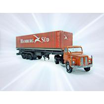 Caminhão Scania 110 Plataforma Container Ho 1/87 Hbm