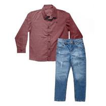 Conjunto Infantil Menino Camisa E Calça Jeans Colorittá