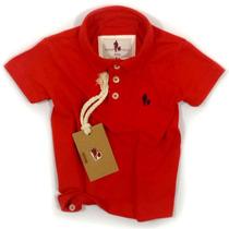 Camisa Polo Infantil, Qualidade Importada Original Tomate