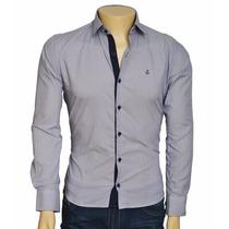 Camisa Social Masculina Slim 100 % Algodão