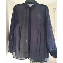 Camisa Blusa Social Feminina Azul Marinho Tam.g