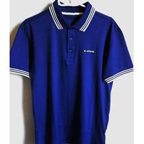 Camisa Polo Masculina Marca Famosa M.officer Azul Tm P