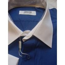 Camisa Social Armani Gola Punho Branco Manga Longa
