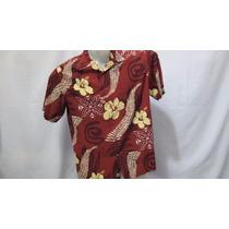 Camisa Imp Quiksilver Seda/cotton Vinho Flores Amarela M 335