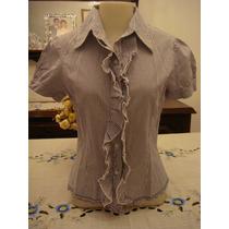 Xsite Blusa Camisa Listrada Azul Branca Tam. P Babado