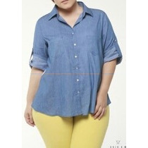 Camisa Plus Size Jeans Com Renda Branca Nas Costas Tam. 54