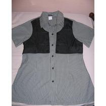 Camisa Listrada Vertical Com Cinto E Frente Imitando Colete