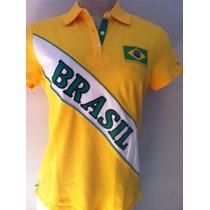 Tommy Hilfiger Polo Fem. Com Bandeira Do Brasil Tamanho Pp