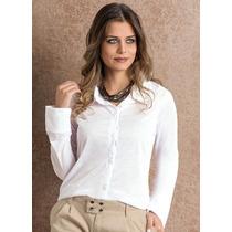 Camisa Feminina Branca Gola Polo Navi Top Promoção Só Hj