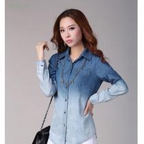 Camisa Blusa Jeans Feminino Degrade Pronta Entrega