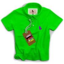 Camisa Polo Infantil, Qualidade Importada Original Verde